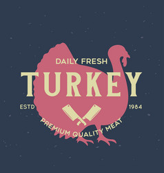 Vintage logo for dairy and meat business butcher vector