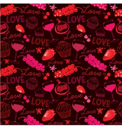 Vintage Love Food Pattern vector image