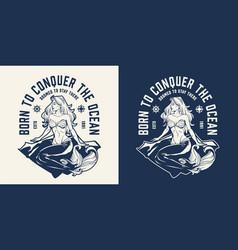 vintage sea and marine emblem vector image