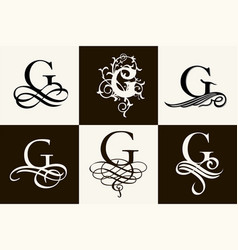 Vintage set capital letter g for monograms and vector