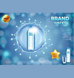 water ads plastic bottle in round splash vector image