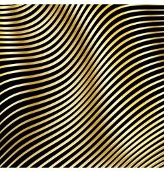 Wavy strips golden color on a dark background vector