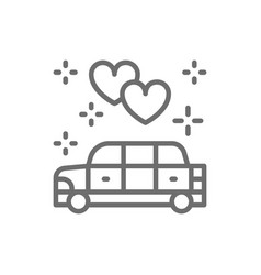 Wedding car limousine service line icon vector