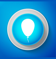 white balloon with ribbon icon on blue background vector image