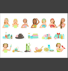 women doing beautifying hair and skin spa vector image