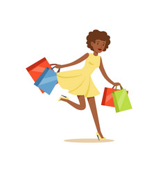 young black beautiful woman running with a lot of vector image