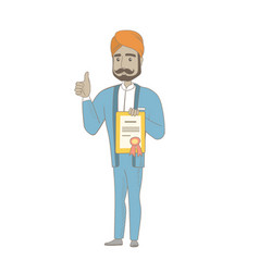 young hindu businessman holding a certificate vector image