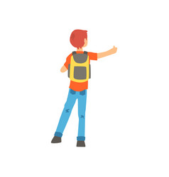 young male hitchhiker traveling with backpack man vector image