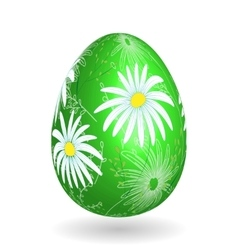 Colorful easter green egg with ornate doodle vector image