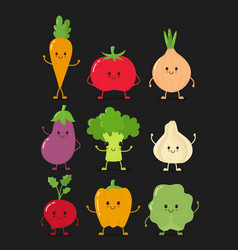 cute happy smiling raw vegetable vector image