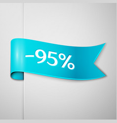 cyan ribbon with text ninety five percent discount vector image vector image