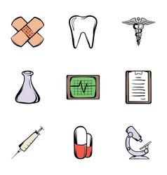 ambulance icons set cartoon style vector image