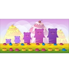 Cartoon fairy tale landscape Candy land vector image