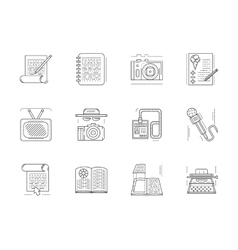 Linear icons set for media publishing vector image