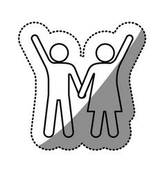 sticker silhouette pictogram man and woman taken vector image