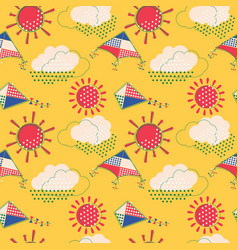 sun with clouds and flying kites seamless pattern vector image