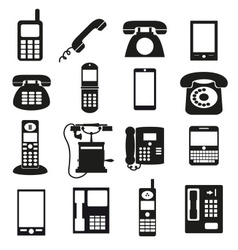 various black phone symbols and icons set eps10 vector image vector image