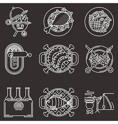 White line icons for picnic vector image vector image