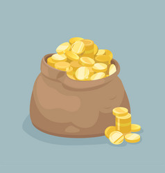 bag with coins flat style vector image