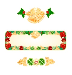 Banner Christmas Spruce with bells and ribbons vector image vector image