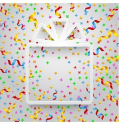 Empty gift box with ribbon and confetti vector image