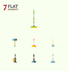 Flat icon mop set of broom besom mop and other vector