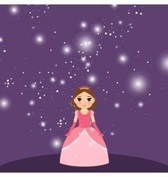 Beautiful cartoon princess on violet background vector image