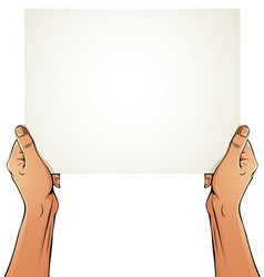 Female hands holding blank paper sheet vector image vector image