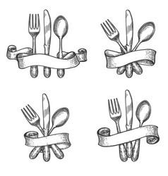 vintage dinner table silverware set vector image vector image