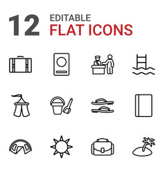 12 vacation icons vector