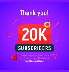 20000 followers post 20k celebration vector