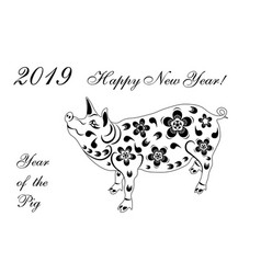 2019 zodiac pig chinese new year pig brings vector image