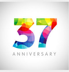37 anniversary colorful facet logo vector