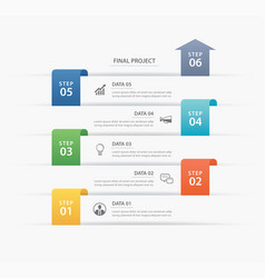 6 data infographics timeline tab paper index vector