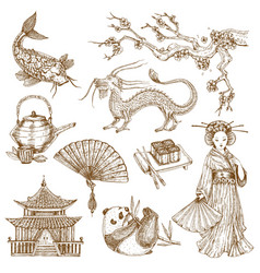 asian elements hand drawn set vector image