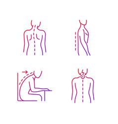 Bad posture problems gradient linear icons set vector