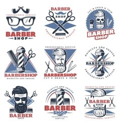 Barbershop Emblem Design Set vector