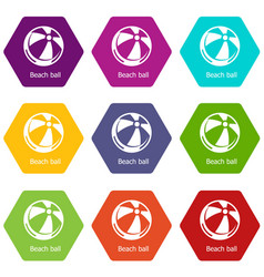 beach ball icons set 9 vector image