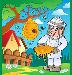 beekeeper with hive and bees vector image