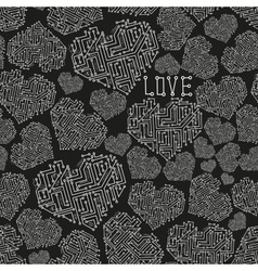 Black and white electrical circuit board heart vector