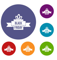 Black friday ribbon icons set vector