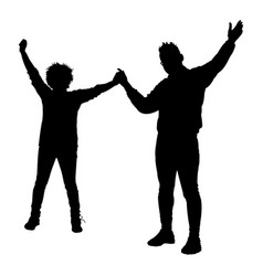 black silhouette of young people isolated on vector image
