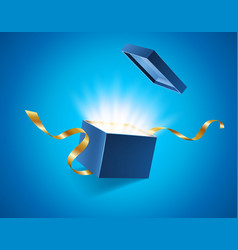 Blue opened 3d realistic gift box with magical vector