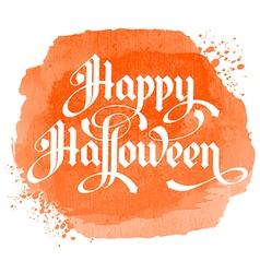 calligraphy inscription happy halloween on orange vector image