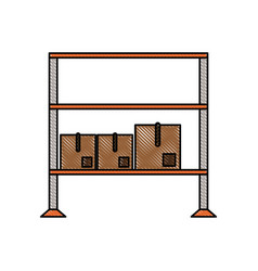 cardboard boxes on shelves icon image vector image