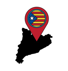 Catalunya flag and country outline with gps pin vector