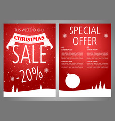 Christmas sale flyer design in red color vector
