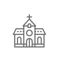 Church chapel temple line icon vector