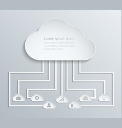 cloud network with icons paper economic vector image