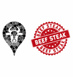 collage cattle marker with textured beef steak vector image